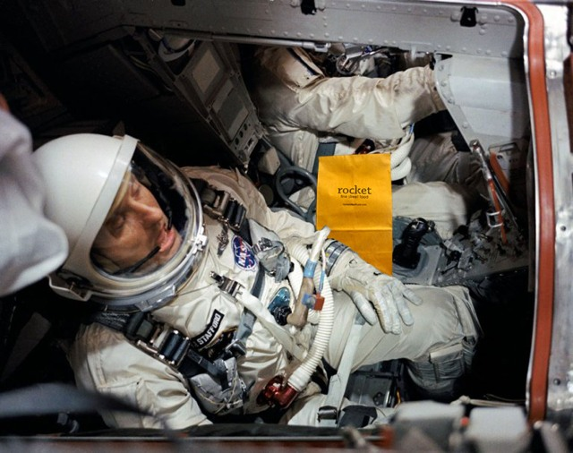 astronauts with bag