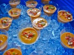 Gazpacho Andaluz  /   traditionally prepared Andalusian chilled tomato soup with cucumber,  green pepper, red onion, garlic, extra virgin olive oil