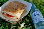 Fresh Mozzarella, Ripe Native Tomato and Basil on Focaccia with an Avery's Soda, Photo by Carrie Albrecht Vibert, poetinthepantry.com
