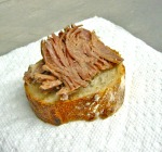 Naturally Raised Pork Confit On Baguette From Collinsville Baking Company