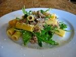 Rigatoni with Naturally Raised Braised Pork, Organic Arugula & Lemon