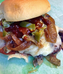 The Space Cowboy: Beef, Caramelized Onion, Jalapeno Relish, Dave's Coffee Syrup BBQ Sauce, Cheese