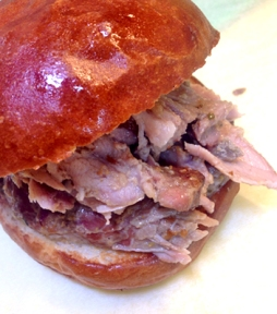 Porchetta on Toasted Brioche Bun