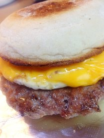 Sausage, Egg & Cheese: Organic Fried Egg, locally raised Boar Breakfast Sausage.
