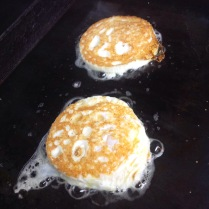 Cage-Free Fried Eggs on the grill.