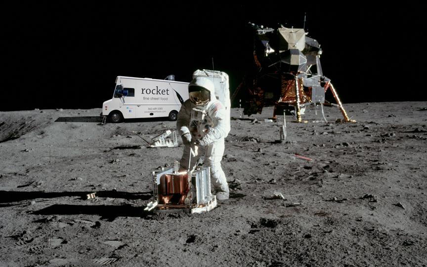 apollo 11 with rocket on moon | rocket fine street food
