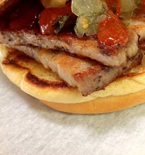 Pork Belly Sandwich with Sweet Relish and Sriracha Sauce